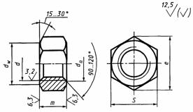 ГОСТ 2524-70: Гайки шестигранные с уменьшенным размером «под ключ» класса точности А