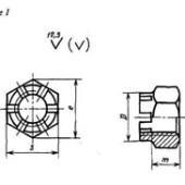 ГОСТ 5919-73: Гайки шестигранные прорезные и корончатые низкие класса точности В