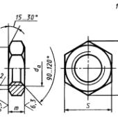 ГОСТ 5929-70: Гайки шестигранные низкие класса точности А