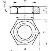 ГОСТ 8961-75 : Соединительные части из ковкого чугуна с цилиндрической резьбой для трубопроводов. Контргайки. Основные размеры
