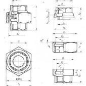 ГОСТ 8959-75: Соединительные части из ковкого чугуна с цилиндрической резьбой для трубопроводов. Гайки соединительные. Основные размеры